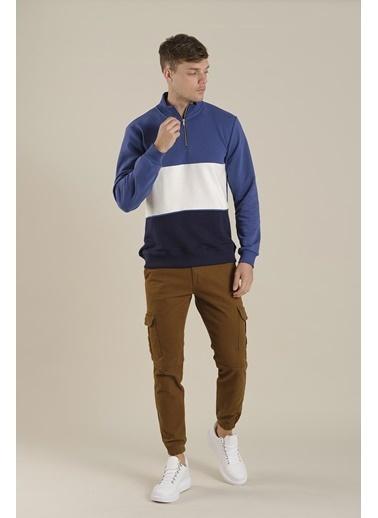 Oksit Louis Teor Yarım Fermuarlı Panelli Polar Sweatshirt Mavi